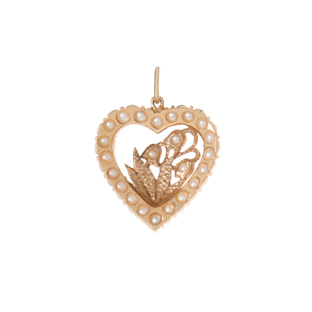 Pearl Lily of the Valley Heart Charm