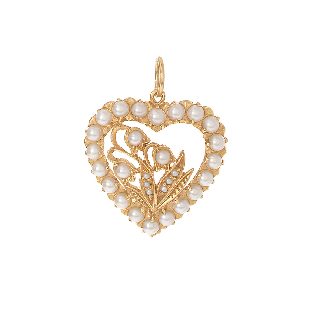 Pearl Lily of the Valley Heart Charm -- Ariel Gordon Jewelry