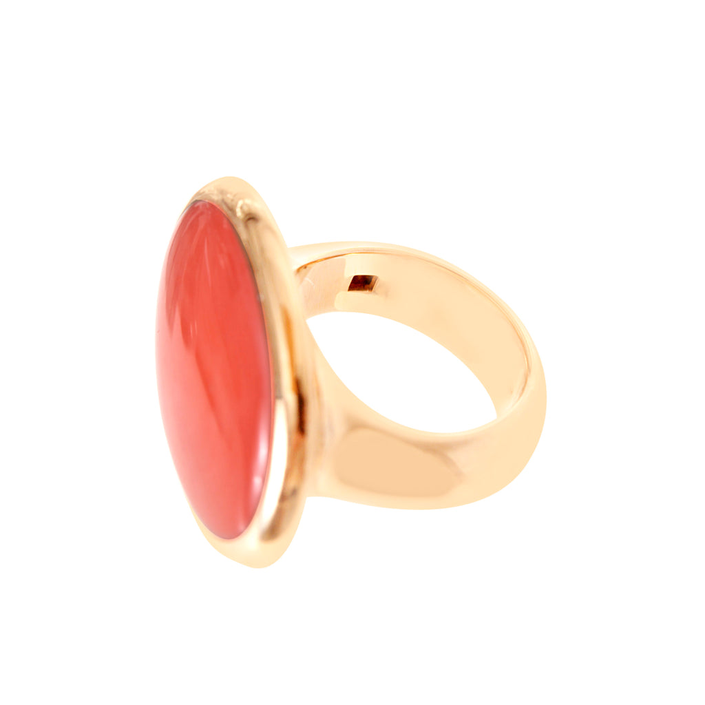 Oversized Coral and Gold Cocktail Ring