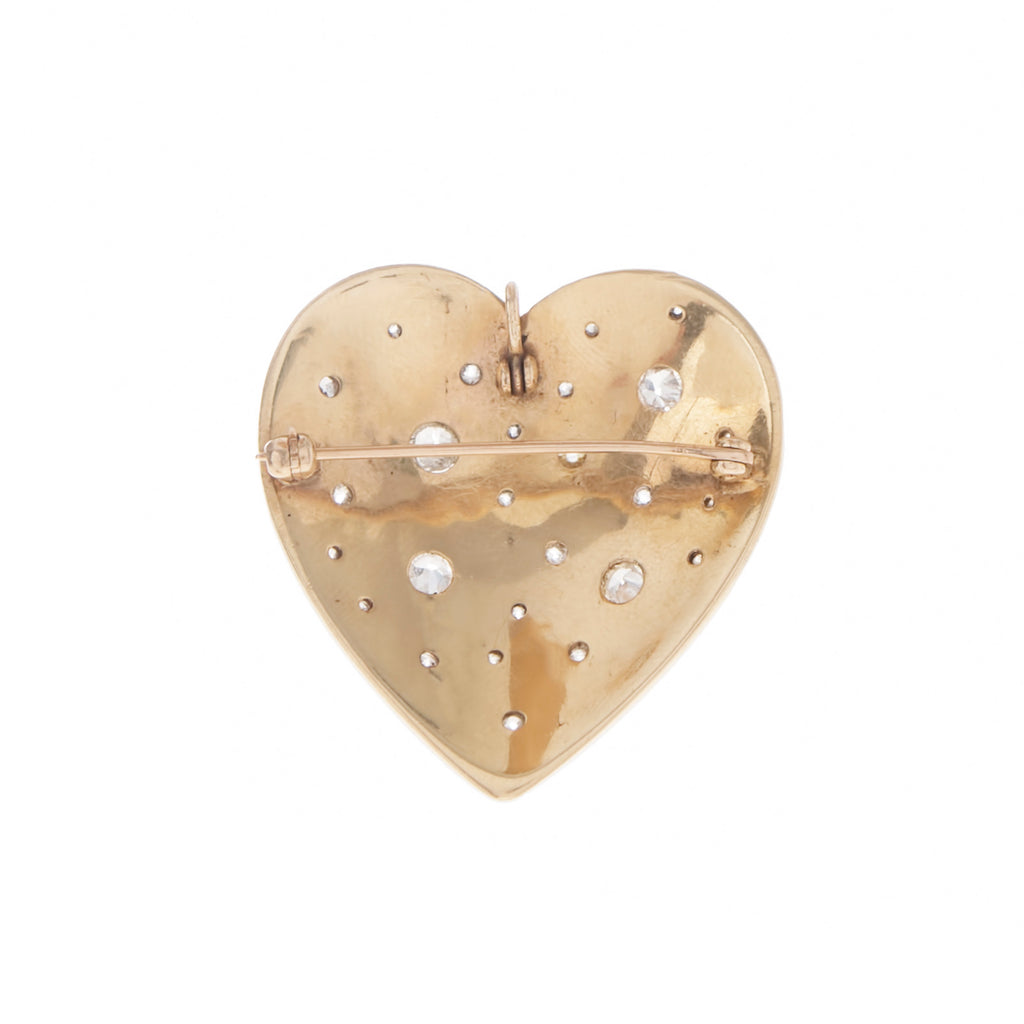 Mine Cut Diamond Heart Pendant Brooch