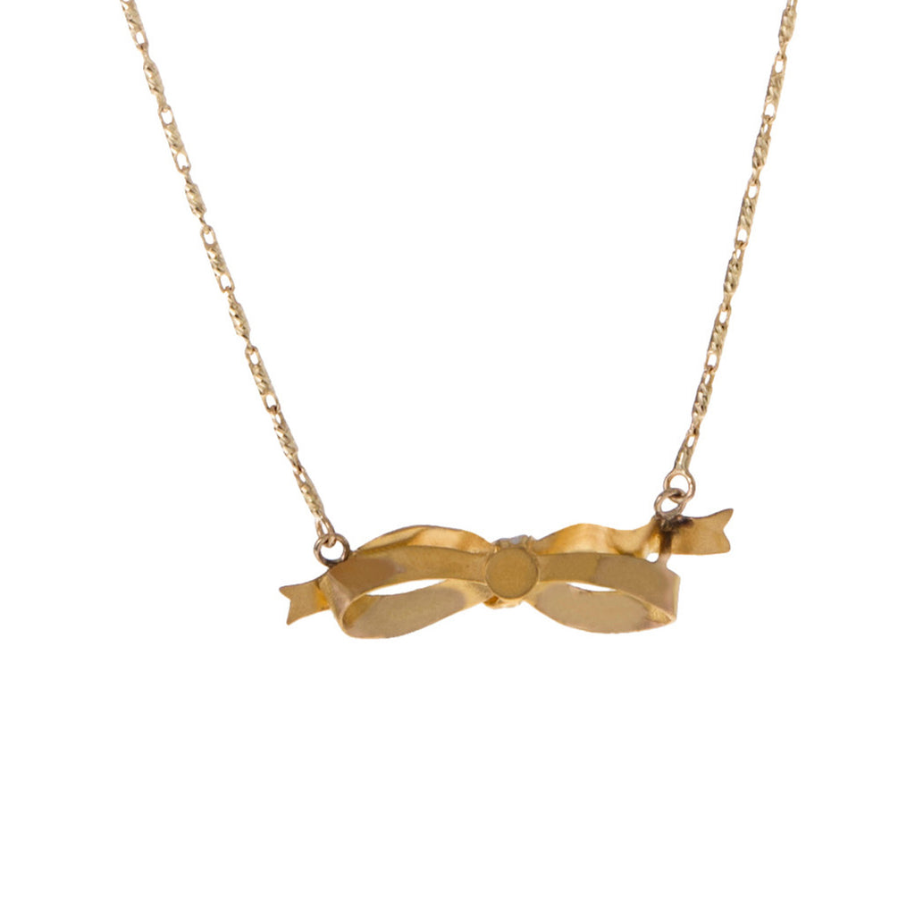 Enamel Bow Necklace