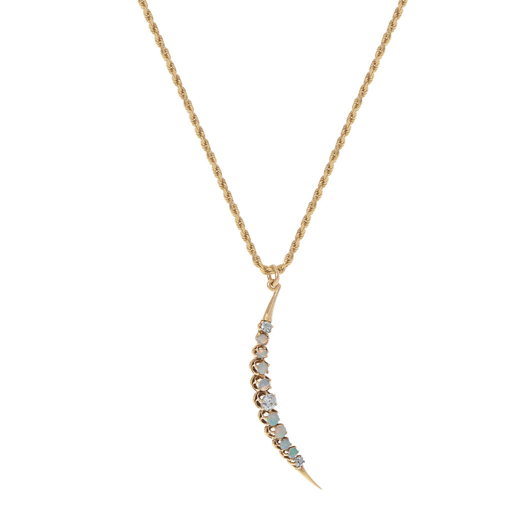 Diamond and Opal Crescent Necklace