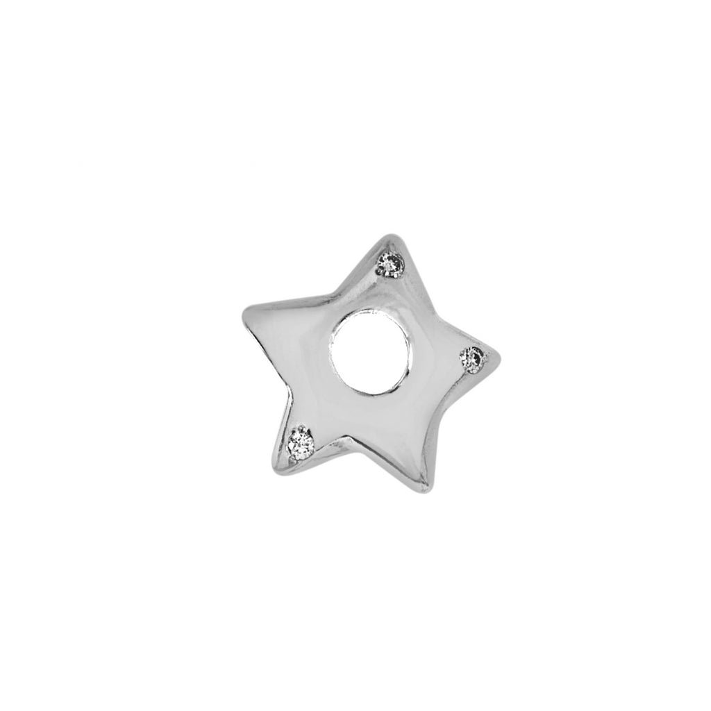 White Gold and Diamond Puffed Star
