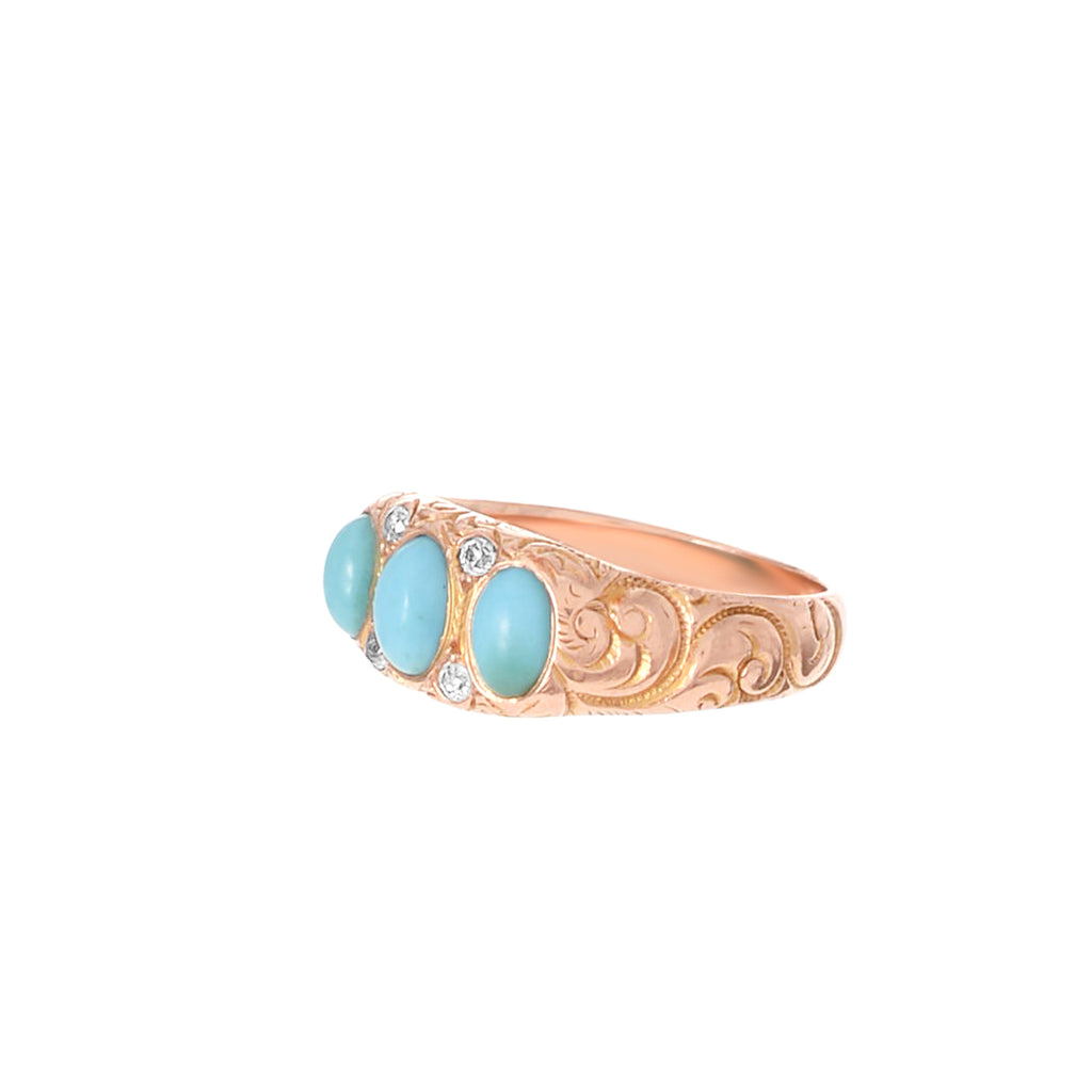 Victorian Turquoise and Diamond Gypsy Ring