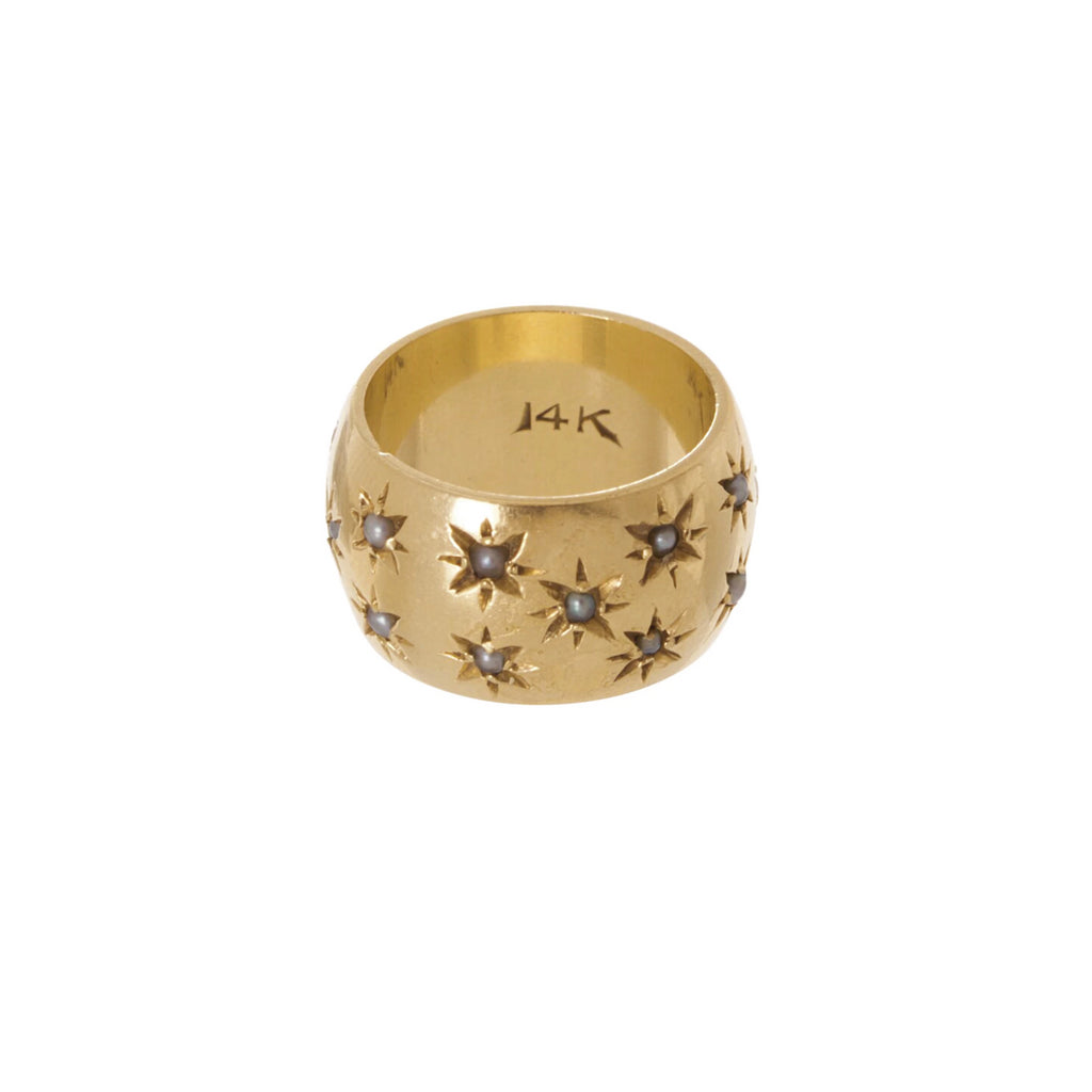 Star Set Pearl Cigar Band -- Ariel Gordon Jewelry