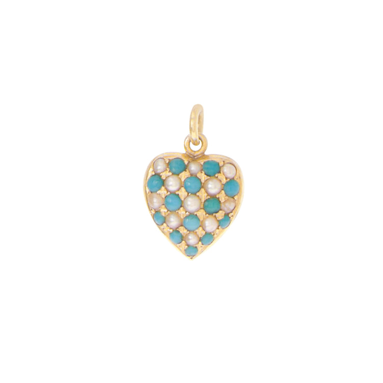 Victorian Turquoise and Pearl Heart Pendant