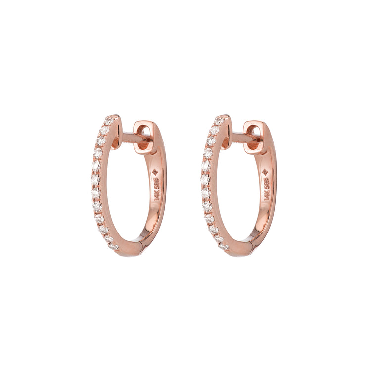 Archive Rose Gold Pavé Huggies
