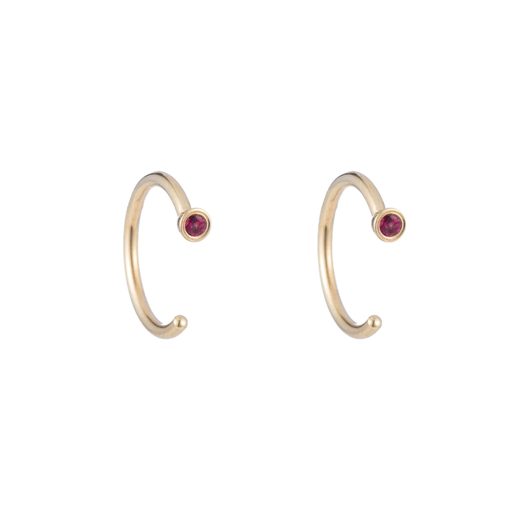 Dual Birthstone Dust Hoops -- Ariel Gordon Jewelry