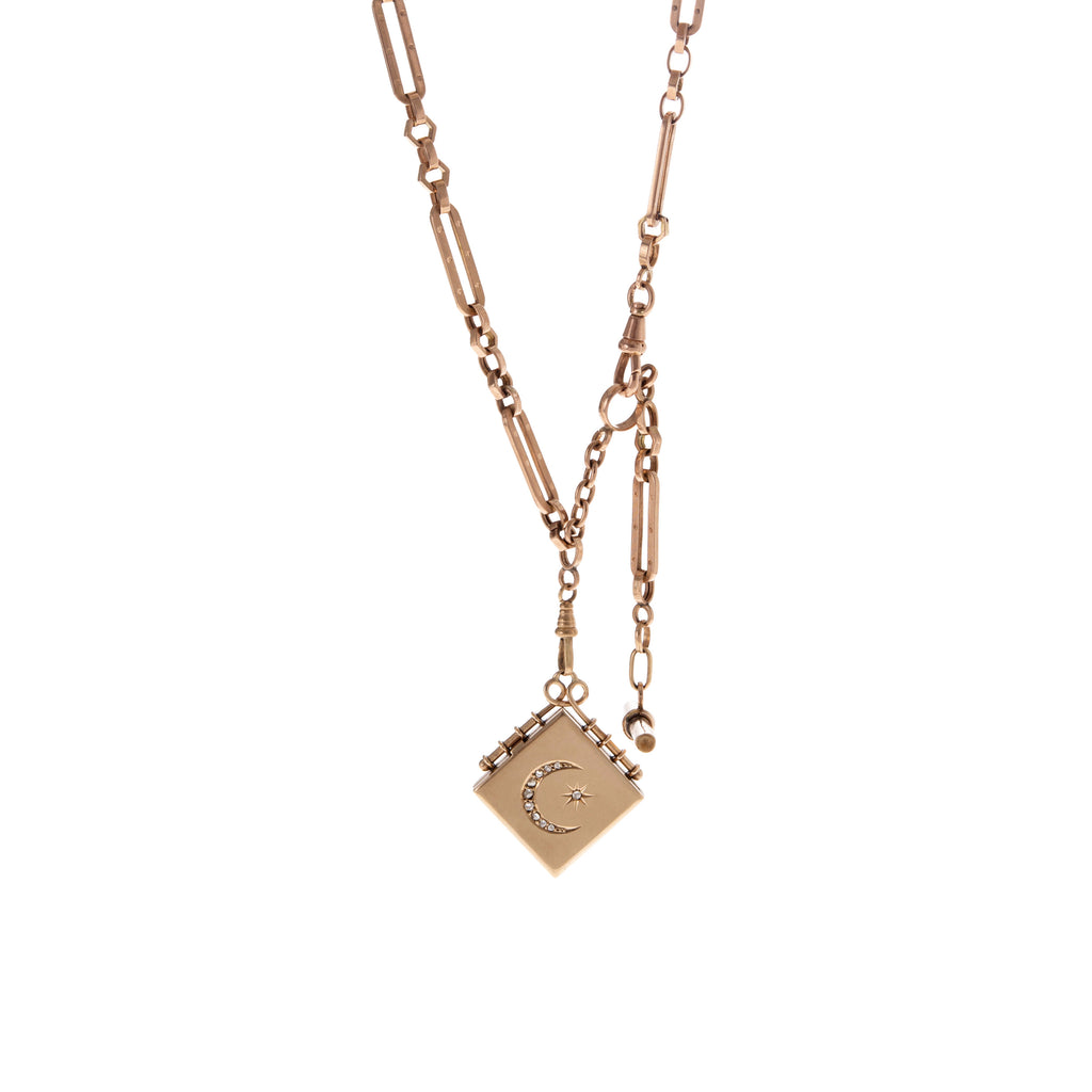Rose Gold Albert Chain with Fob -- Ariel Gordon Jewelry
