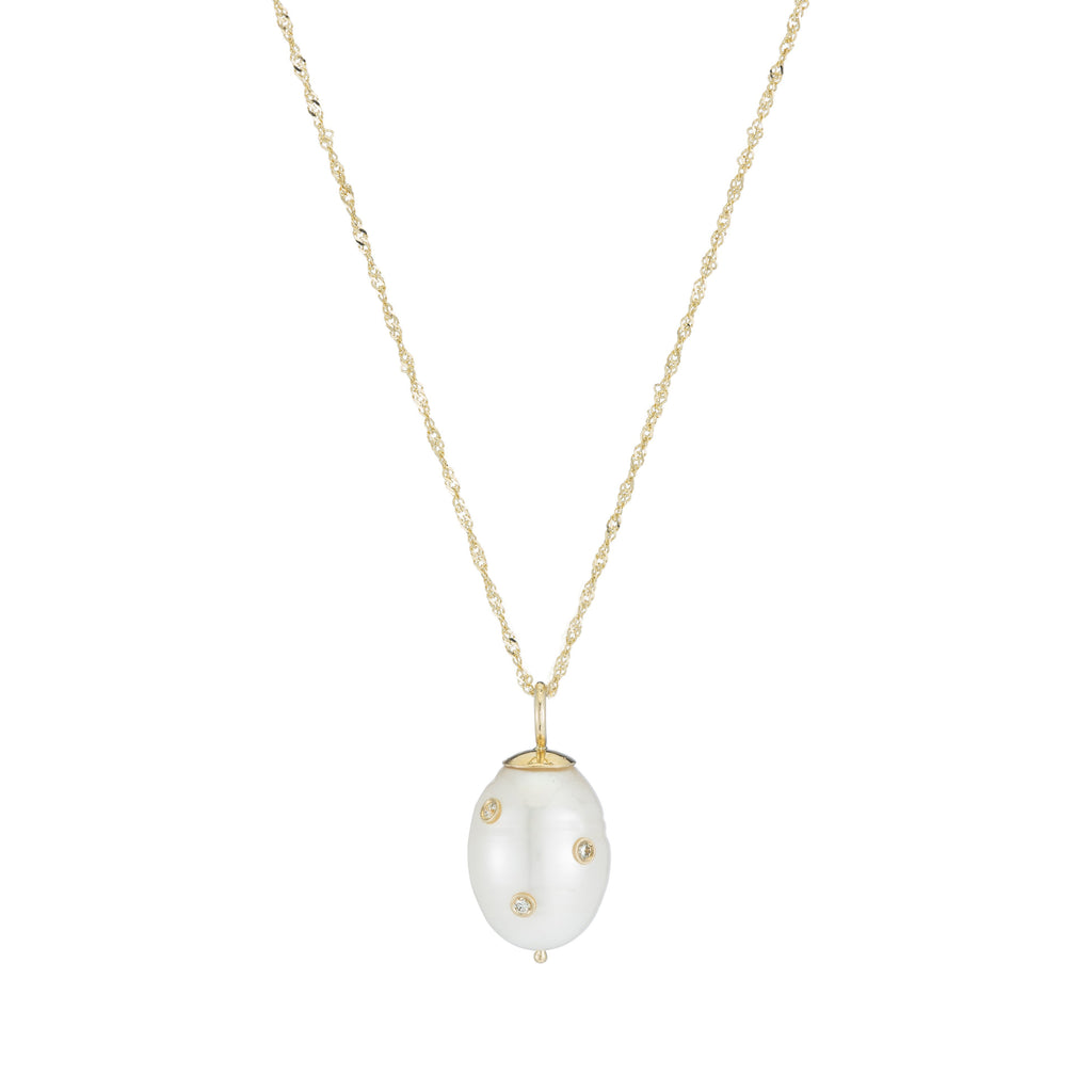 Diamond Baroque Pearl Drop Necklace
