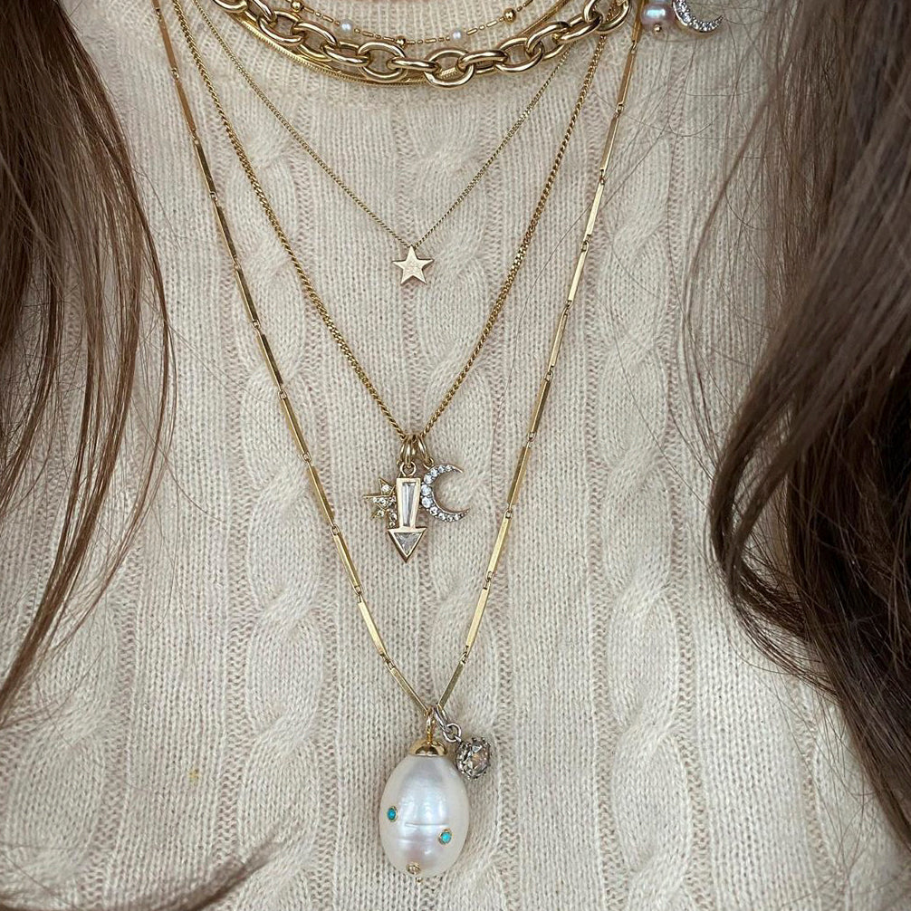 Stone Baroque Pearl Drop Necklace