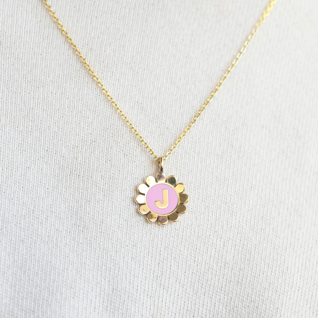 Daisy Initial Pendant Necklace