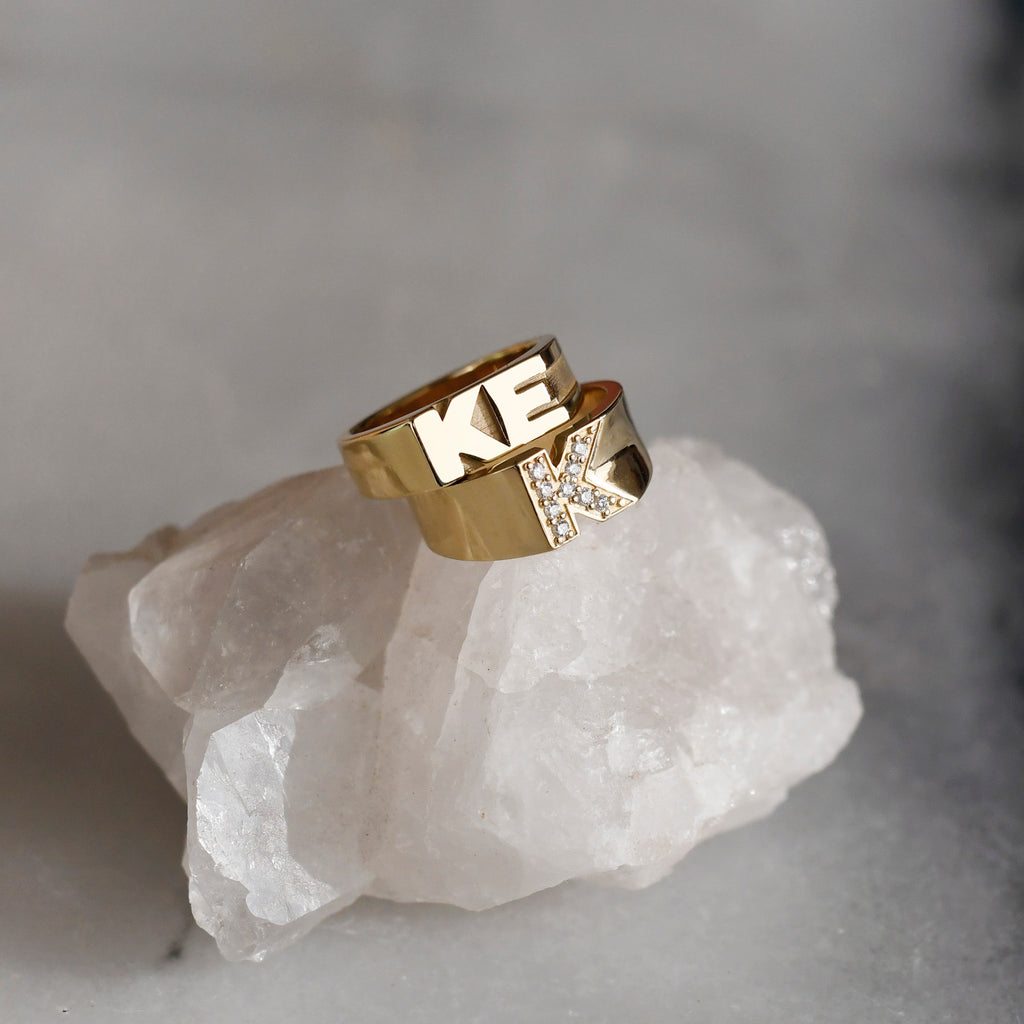 Pave Letter Ring
