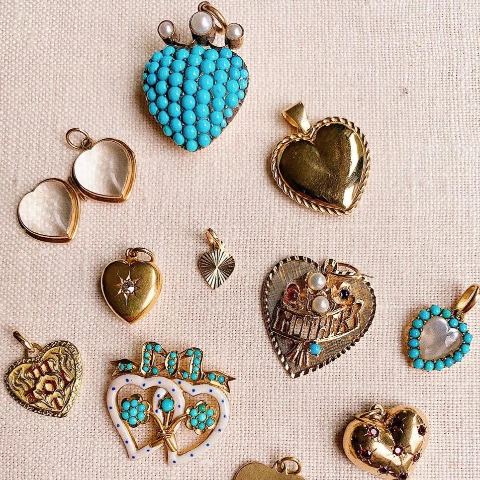 Victorian Turquoise & Pearl Crowned Heart Charm