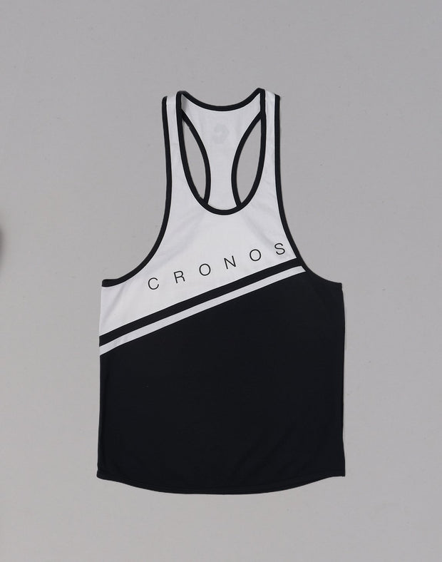 CRONOS Bi-COLOR LINE TANKTOP【BLACK】