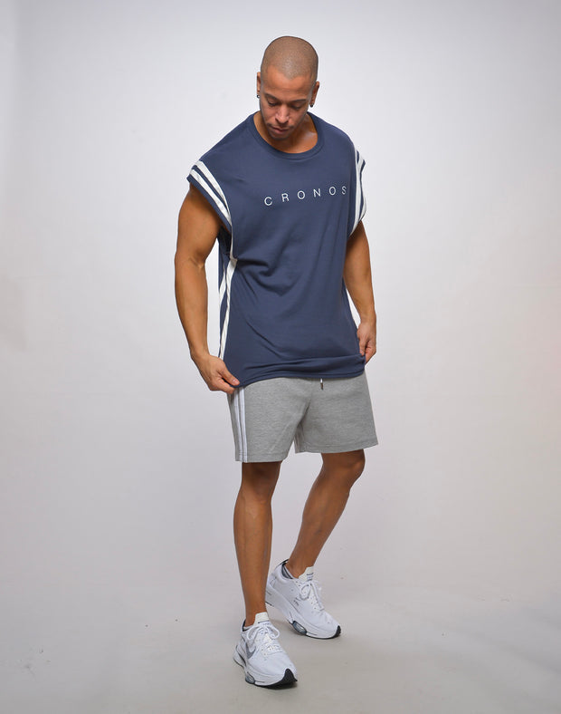 CRONOS SIDE 2STRIPES SHORTS【GRAY】