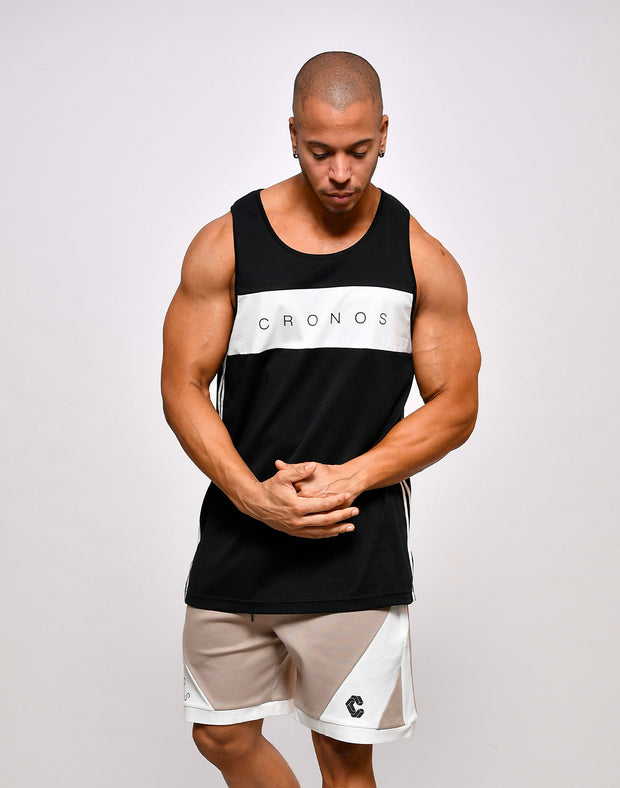 CRONOS SIDE STRIPE SLEEVELESS【BLACK】