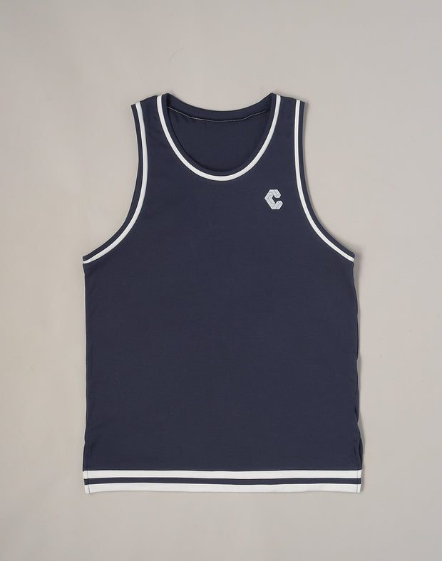 CRONOS STRIPE SLEEVELESS【NAVY】