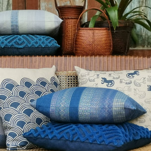 "Cushion cover ""Chenille"" (Blue)"