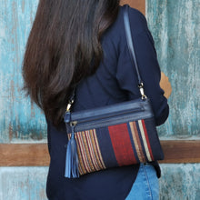 "Load image into Gallery viewer, Shoulder-strap bag with tassel ""Stripes"""