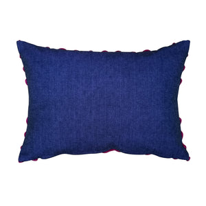 "Cushion cover ""Chenille"" (Pink/Navy)(Lumbar)"