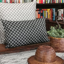 "Load image into Gallery viewer, Cushion cover ""Cotton check"" (Black)(Rectangular)"