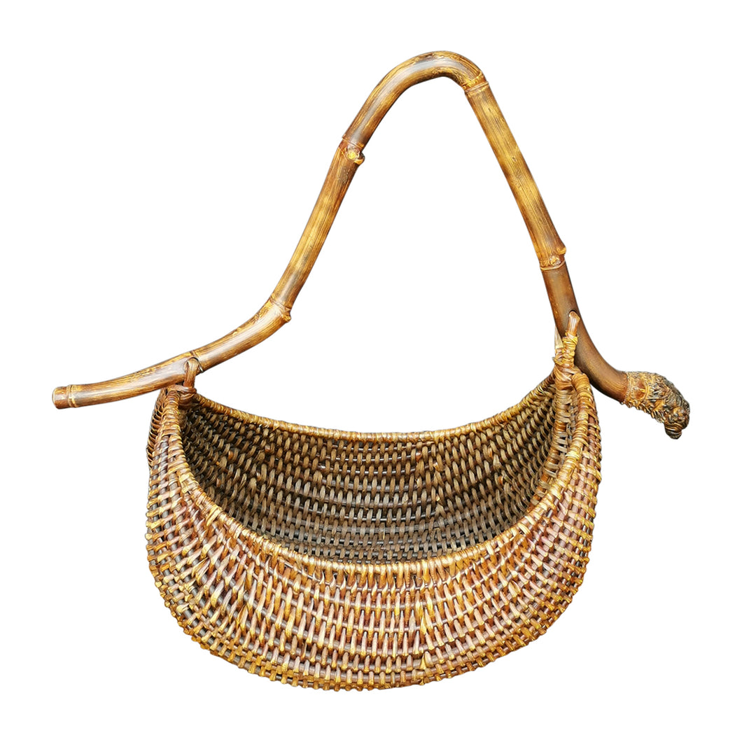 Rattan basket with bamboo handle