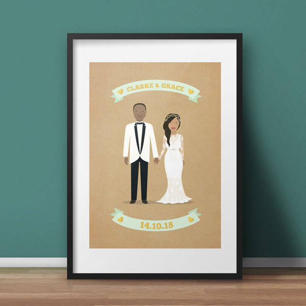 Custom Couple Portrait Art Print - A4 Giclée Print