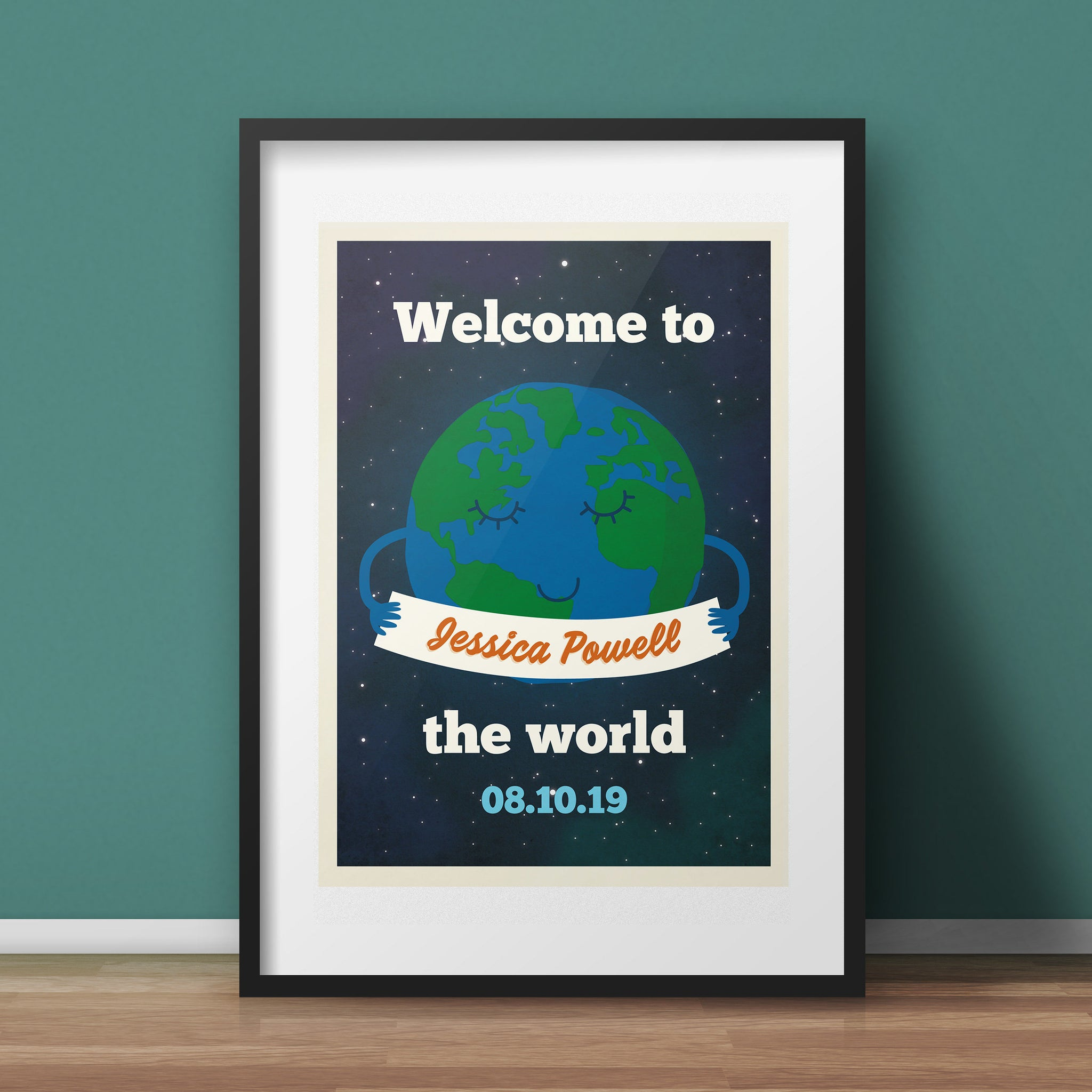 Personalised Nursery Art Print -  new baby gift with name, A4 Giclée Print