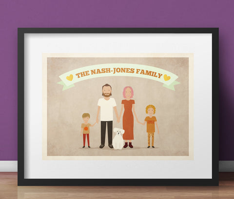 Custom Family Portrait Art Print - A4 Giclée Print