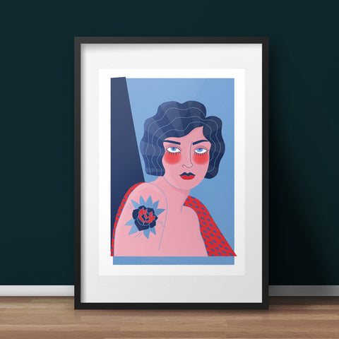 Tattoo Woman Art Print - various sizes (inc. UK P&P)
