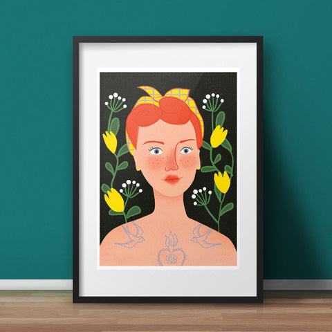 The Tattooed Lady Art Print - various sizes (inc. UK P&P)