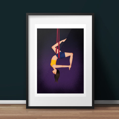 Aerial Artist Silks Art Print - various sizes (inc. UK P&P)