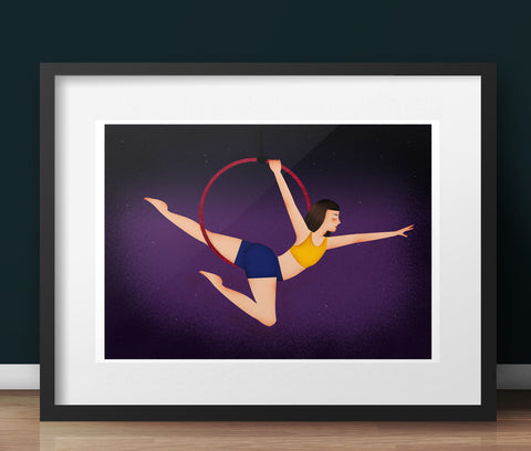 Aerial Artist Hoop Art Print - various sizes (inc. UK P&P)