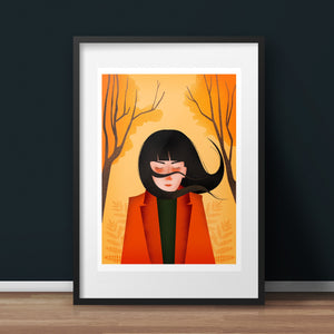 Autumn Breeze Art Print - A5 giclée