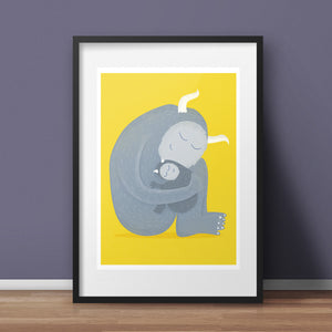 Nursery Art Print - Monster Hug A4 Giclée Print