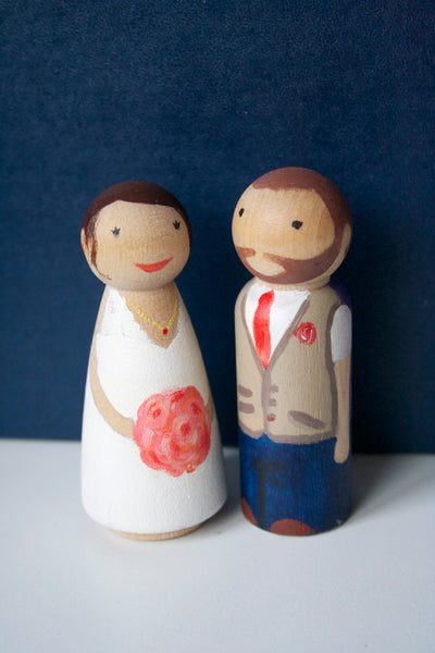 Wooden cake topper peg figures, custom hand painted, UK maker and free UK postage!