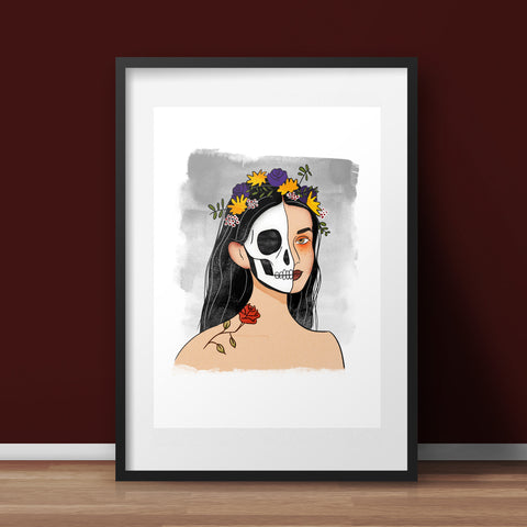 Skelegirl Art Print - various sizes (inc. UK P&P)