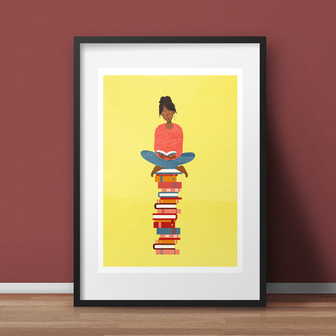 Book Pile Art Print, yellow - various sizes (inc. UK P&P)