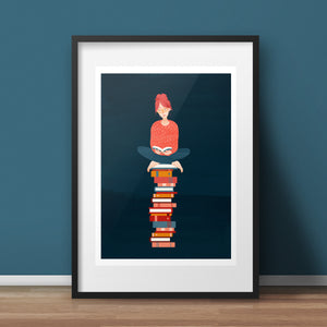 Book Lover Art Print - various sizes (inc. UK P&P)