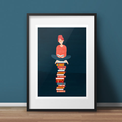 FRAMED Book Lover Art Print - A4 giclée
