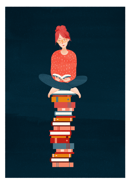 To Be Read Pile Art Print - A5 giclée
