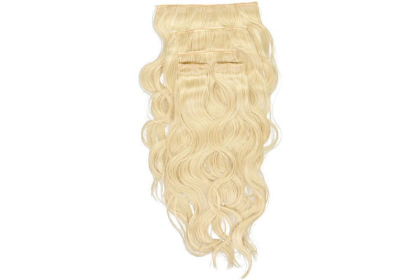 Go-To Glam wavy Clip in Hair Extensions Ash Blond