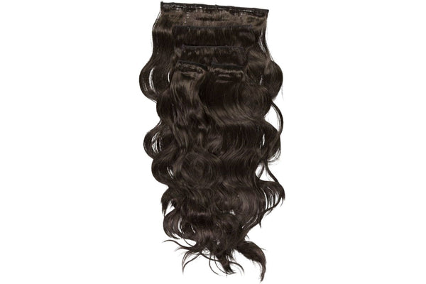 Go-To Glam wavy Clip in Hair Extensions Black brown