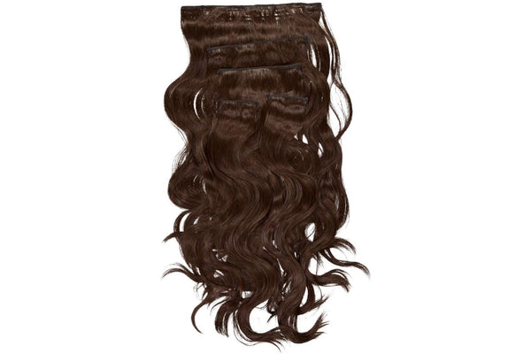 Go-To Glam wavy Clip in Hair Extensions    Chocolate Brown