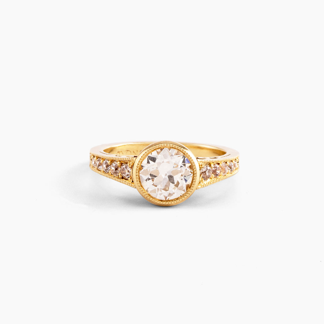 Diamond Gold Ring with Diamond Encrusted Band