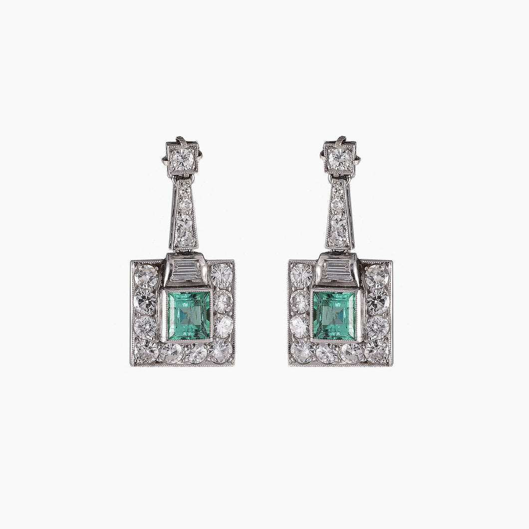VINTAGE EMERALD & DIAMOND EARRINGS