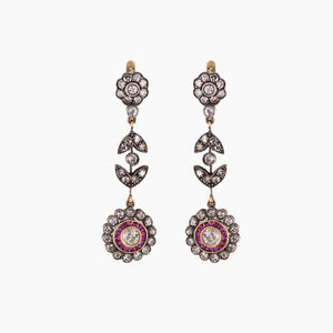 RUBY DIAMOND VINTAGE EARRINGS