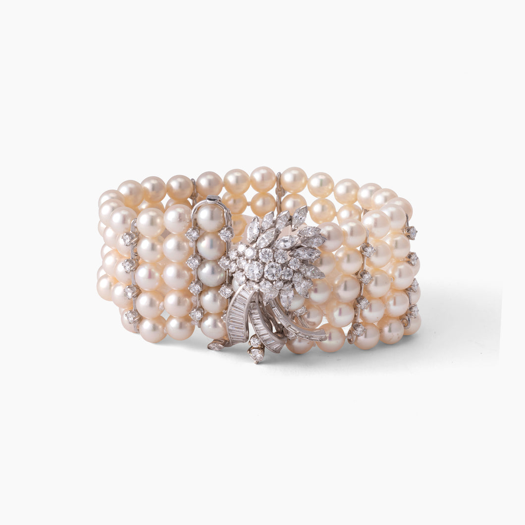 CULTURE PEARL & DIAMOND BRACELET