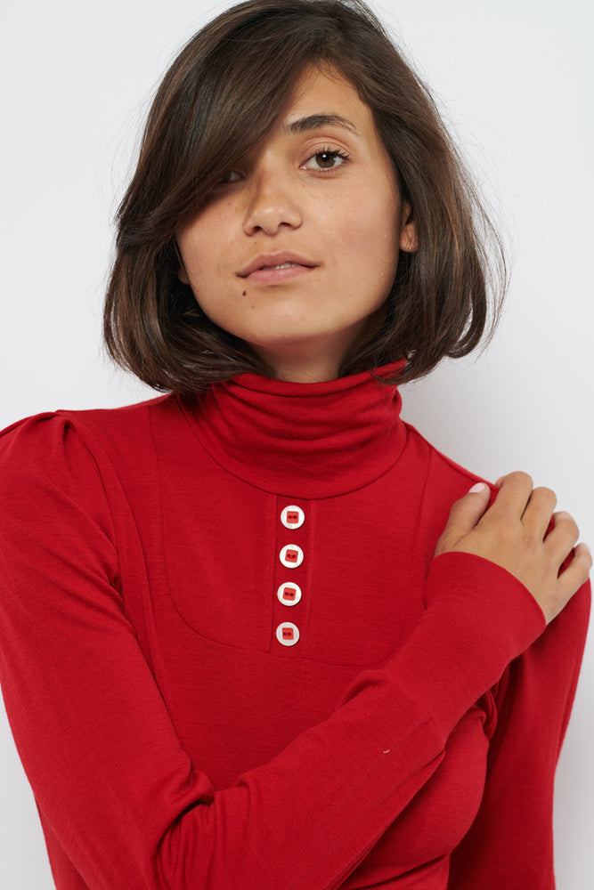 Tolsing Anna Højhalset Bluse / Red wool